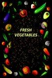 Διανυσματικό vegan πλαίσιο σε ένα μαύρο υπόβαθρο Στοκ Φωτογραφίες