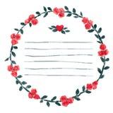 Διανυσματικό watercolor γύρω από το πλαίσιο με τα τριαντάφυλλα και τα στοιχεία φυλλώματος Το χέρι σύρει τα floral σύνορα Στοκ Εικόνα