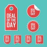 Διαπραγμάτευση της αυτοκόλλητης ετικέττας πώλησης ημέρας Σύγχρονο επίπεδο σχέδιο, ετικέττα κόκκινου χρώματος Διαφημιστική προωθητ Στοκ Φωτογραφίες