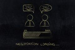 Διαπραγματεύσεις & διαπραγματεύσεις: επιχειρηματίες με τη χειραψία στο κωμικό bubb Στοκ Φωτογραφία