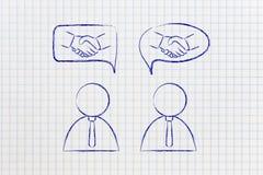 Διαπραγματεύσεις & διαπραγματεύσεις: επιχειρηματίες με τη χειραψία στο κωμικό bubb Στοκ εικόνες με δικαίωμα ελεύθερης χρήσης