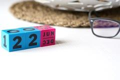 Διαρκές ημερολόγιο που τίθεται στην ημερομηνία της 22ας Ιουνίου Στοκ φωτογραφία με δικαίωμα ελεύθερης χρήσης