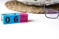 Διαρκές ημερολόγιο που τίθεται στην ημερομηνία της 6ης Ιουνίου Στοκ Εικόνα