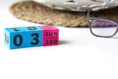 Διαρκές ημερολόγιο που τίθεται στην ημερομηνία της 3ης Ιουνίου Στοκ Εικόνες