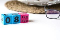 Διαρκές ημερολόγιο που τίθεται στην ημερομηνία της 8ης Ιουνίου Στοκ Φωτογραφίες