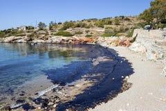 Διαρροή πετρελαίου Περιβαλλοντική καταστροφή Άποψη της μολυσμένης παραλίας Στοκ φωτογραφία με δικαίωμα ελεύθερης χρήσης