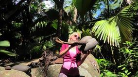 Διασκέδαση με Coco de Mer τις καρύδες απόθεμα βίντεο