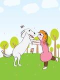 Διασκέδαση σκυλιών παιχνιδιού κοριτσιών Στοκ φωτογραφία με δικαίωμα ελεύθερης χρήσης