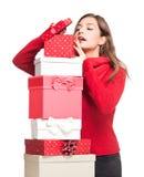 Διασκέδαση Χριστουγέννων με την ομορφιά brunette Στοκ Εικόνες