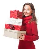 Διασκέδαση Χριστουγέννων με την ομορφιά brunette Στοκ Εικόνα