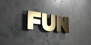 Διασκέδαση - χρυσό σημάδι που τοποθετείται στο στιλπνό μαρμάρινο τοίχο - τρισδιάστατο δικαίωμα ελεύθερη απεικόνιση αποθεμάτων Στοκ Εικόνες