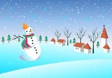 Διασκεδάζοντας επαρχία χιονανθρώπων, χειμώνας, snowflake, χωριό χιονιού του διανύσματος διανυσματική απεικόνιση