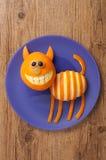 Διασκεδάζοντας γάτα φιαγμένη από πορτοκάλι Στοκ φωτογραφία με δικαίωμα ελεύθερης χρήσης