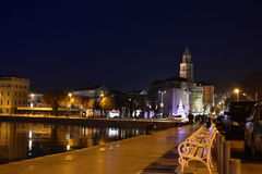 Διασπασμένη καλλιτεχνική φωτογραφία της Κροατίας κατά τη διάρκεια της νύχτας με το διάσημο ορόσημο Στοκ φωτογραφίες με δικαίωμα ελεύθερης χρήσης