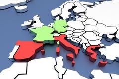 διαστατικός χάρτης τρία της Ευρώπης Στοκ Εικόνες