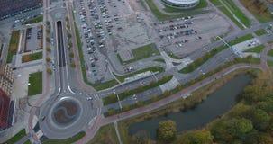 Διασταύρωση κυκλικής κυκλοφορίας, δρόμοι και περιοχή χώρων στάθμευση φιλμ μικρού μήκους