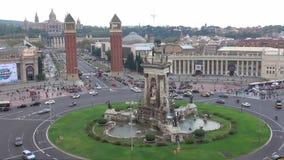 Διασταύρωση κυκλικής κυκλοφορίας Plaza de Espagna - πλατεία Espagna στη Βαρκελώνη απόθεμα βίντεο