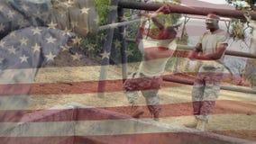 Διασταύρωση με σχοινί στρατιώτη απόθεμα βίντεο