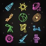 Διαστημικά εικονίδια νέου που τίθενται στο λεπτό ύφος γραμμών Στοκ φωτογραφία με δικαίωμα ελεύθερης χρήσης