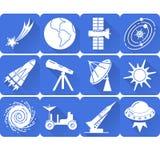 Διαστημικά εικονίδια σκιαγραφιών που τίθενται στο επίπεδο ύφος με τη μακριά σκιά Στοκ φωτογραφίες με δικαίωμα ελεύθερης χρήσης
