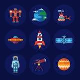 Διαστημικά εικονίδια καθορισμένα Στοκ Φωτογραφίες
