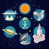 Διαστημικά εικονίδια στην επίπεδη διανυσματική απεικόνιση ύφους Στοκ Εικόνα