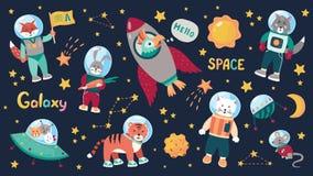 Διαστημικά ζωικά παιδιά Αστροναύτες μωρών κινούμενων σχεδίων με τα αστέρια και τους πλανήτες και τα διαστημόπλοια Διανυσματικά ζώ ελεύθερη απεικόνιση δικαιώματος