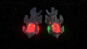 Διαστημικά μαχητικά αεροσκάφη του υποβάθρου, τρισδιάστατη απόδοση στοκ εικόνα