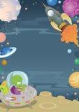 Διαστημικά σύνορα κινούμενων σχεδίων Στοκ εικόνα με δικαίωμα ελεύθερης χρήσης