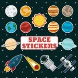 Διαστημικές αυτοκόλλητες ετικέττες Στοκ Εικόνες