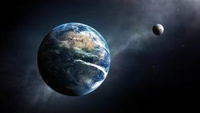 Διαστημική άποψη γης και φεγγαριών Στοκ φωτογραφίες με δικαίωμα ελεύθερης χρήσης