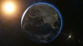 Διαστημική άποψη σχετικά με το πλανήτη Γη και τον ήλιο στον κόσμο Στοκ Εικόνα