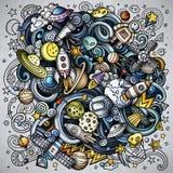 Διαστημική απεικόνιση doodles κινούμενων σχεδίων διανυσματική Στοκ Φωτογραφία