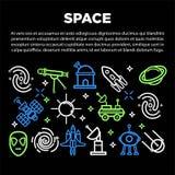 Διαστημική αφίσα των κοσμικών πυραύλων πλανητών άμμου δορυφόρων εικονιδίων αστρονομίας περιλήψεων διανυσματικών Στοκ φωτογραφίες με δικαίωμα ελεύθερης χρήσης