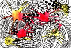 Διαστημική αφαίρεση εικόνων Watercolor και μελάνι σχεδίων χεριών Ελεύθερη απεικόνιση δικαιώματος