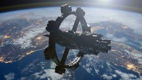 Διαστημική βάζοντας σε τροχιά γη σταθμών ελεύθερη απεικόνιση δικαιώματος