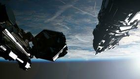 Διαστημική βάζοντας σε τροχιά γη σταθμών απεικόνιση αποθεμάτων