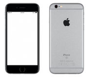 Διαστημική γκρίζα μπροστινή άποψη προτύπων iPhone της Apple 6s και πίσω πλευρά Στοκ εικόνες με δικαίωμα ελεύθερης χρήσης