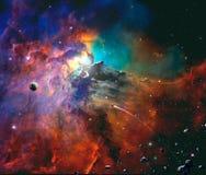 Διαστημική σκηνή Ζωηρόχρωμο νεφέλωμα με τον πλανήτη, το διαστημόπλοιο και asteroid στοκ φωτογραφία