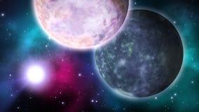 Διαστημική σκηνή με τους περιστρεφόμενους πλανήτες βρόχος απεικόνιση αποθεμάτων