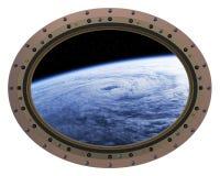 Διαστημική σκηνή σταθμών Porthole Στοκ Φωτογραφίες