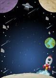 Διαστημικός γαλαξίας με το φεγγάρι, τη γη, τους πλανήτες και τα αστέρια απεικόνιση αποθεμάτων