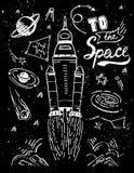 Διαστημικός πύραυλος έναρξης Διανυσματικά συρμένα χέρι στοιχεία σκίτσων απεικόνισης κοσμικά που τίθενται απομονωμένα και απόσπασμ Στοκ Εικόνες