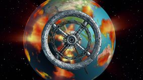 Διαστημικός σταθμός και καίγοντας γη διανυσματική απεικόνιση
