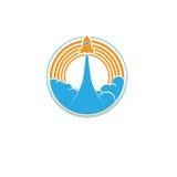 Διαστημικό αναδρομικό λογότυπο πυραύλων Στοκ Φωτογραφία