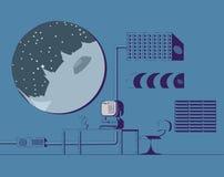 Διαστημικό δωμάτιο σταθμών διανυσματική απεικόνιση