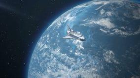 Διαστημικό λεωφορείο επάνω από τη γη διανυσματική απεικόνιση
