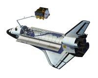 Διαστημικό λεωφορείο που επεκτείνει το δορυφόρο πέρα από το άσπρο υπόβαθρο ελεύθερη απεικόνιση δικαιώματος