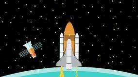 Διαστημικό λεωφορείο που πετά επάνω στο διάστημα ελεύθερη απεικόνιση δικαιώματος