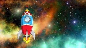 Διαστημικό πέταγμα πυραύλων που ταξιδεύει σε όλη τη βαθιά διαστημική ζωτικότητα κόσμου ελεύθερη απεικόνιση δικαιώματος